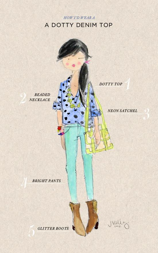oh joy | how i'd wear a dotty denim top