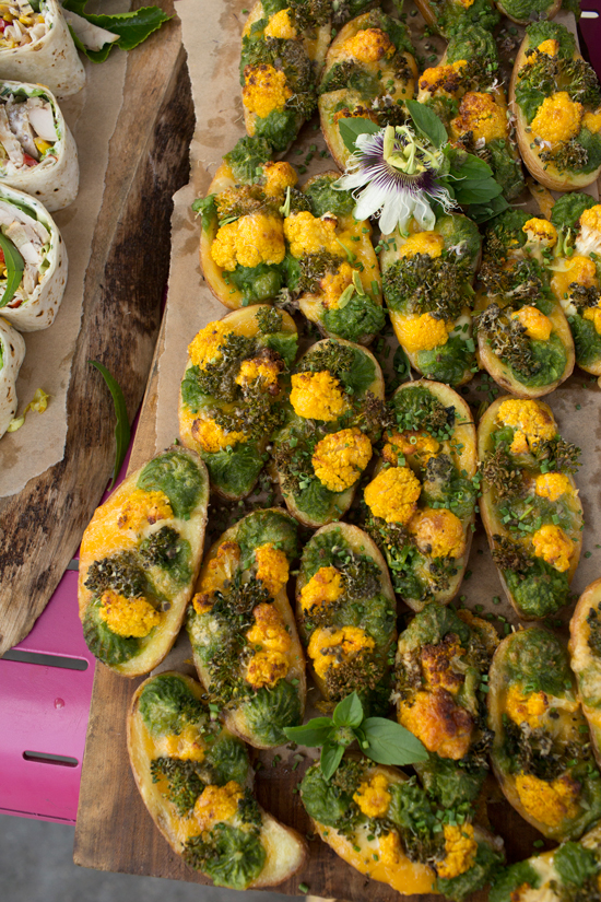 Cheesy Cauliflower and Broccoli Potato Skins