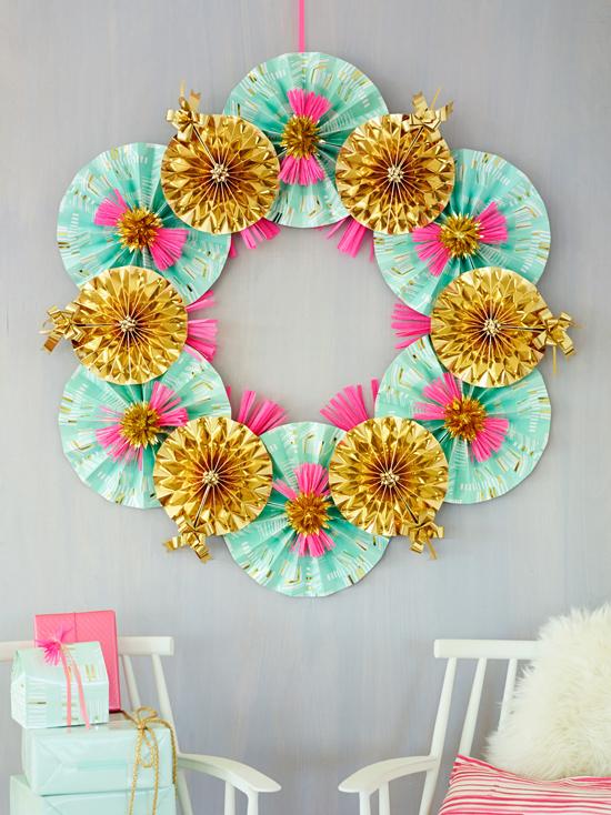 Paper Fan Wreath DIY by ThussFarrell for Oh Joy