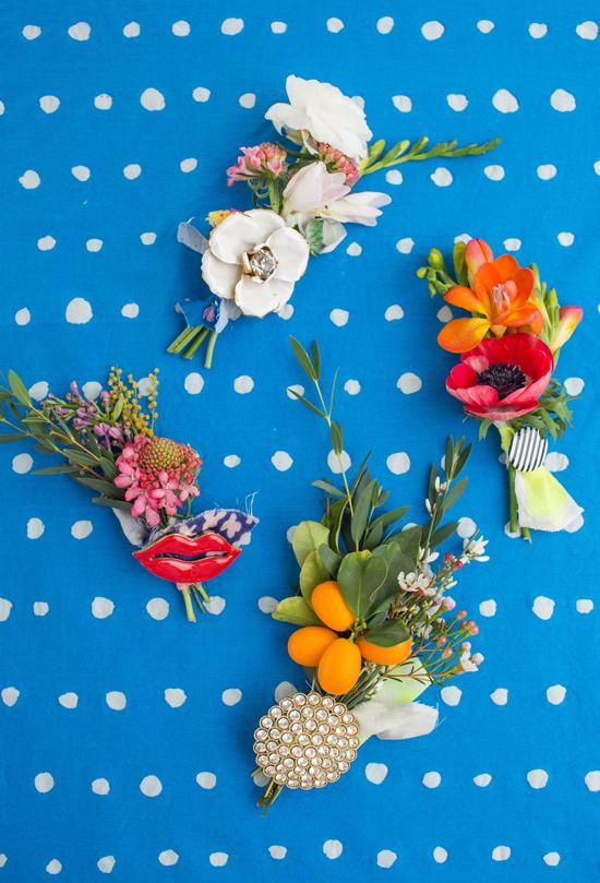 mini valentine's brooch bouquets