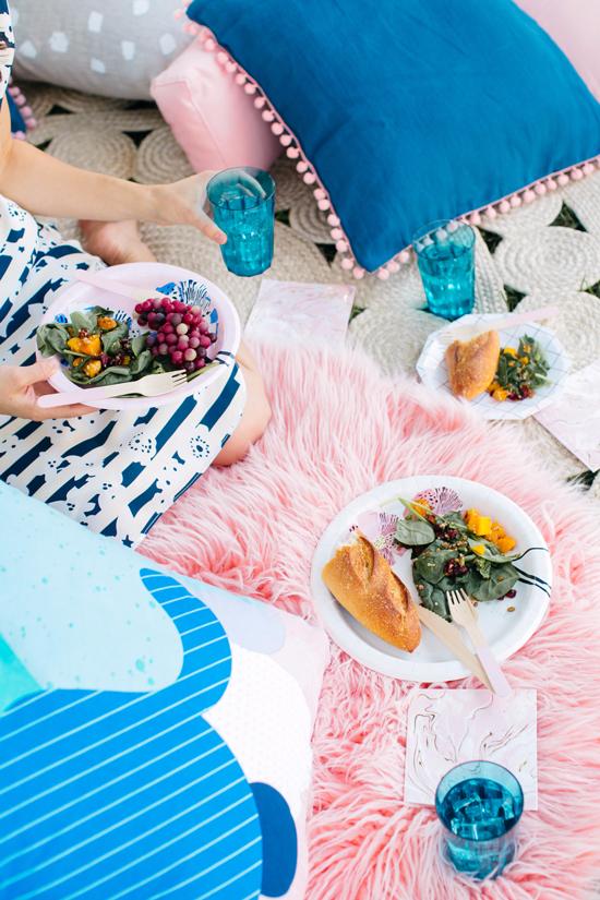 a fancy pink & blue picnic