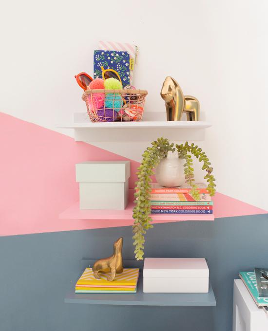 color-blocked floating shelves