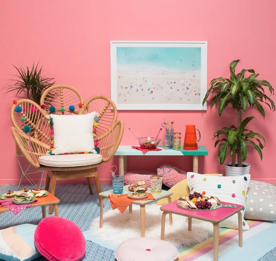 a rainbow indoor picnic