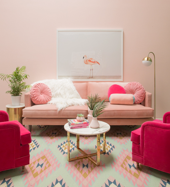 A pretty in pink living room / Oh Joy!