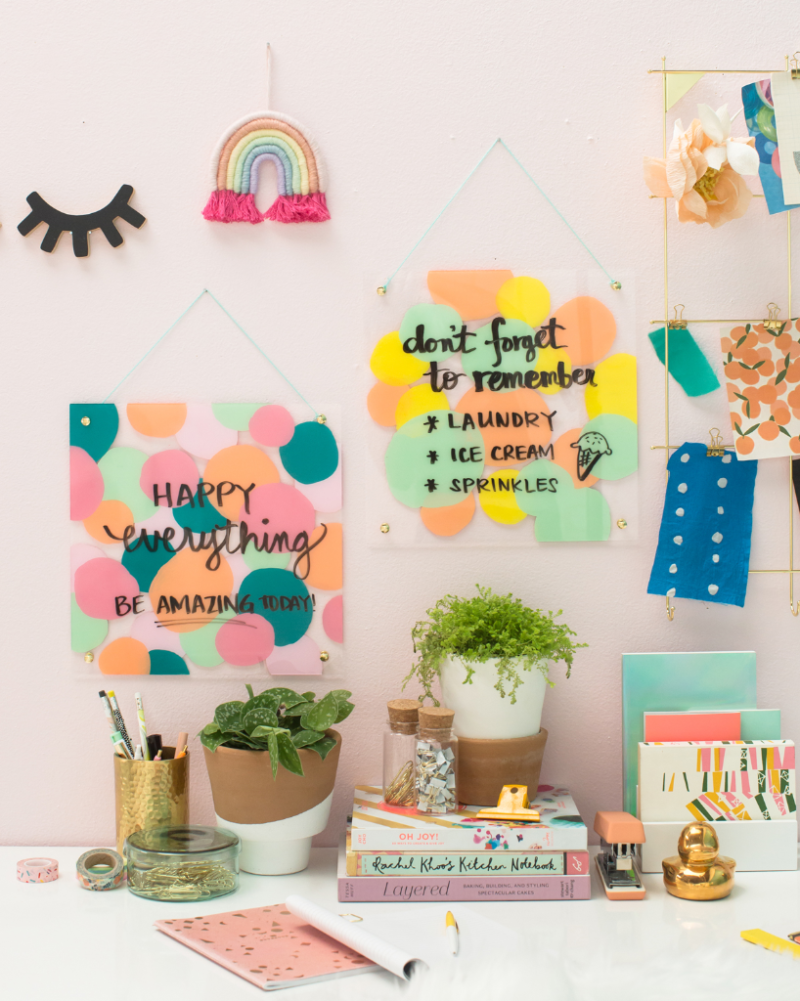 a colorful painted dry erase board / via oh joy!