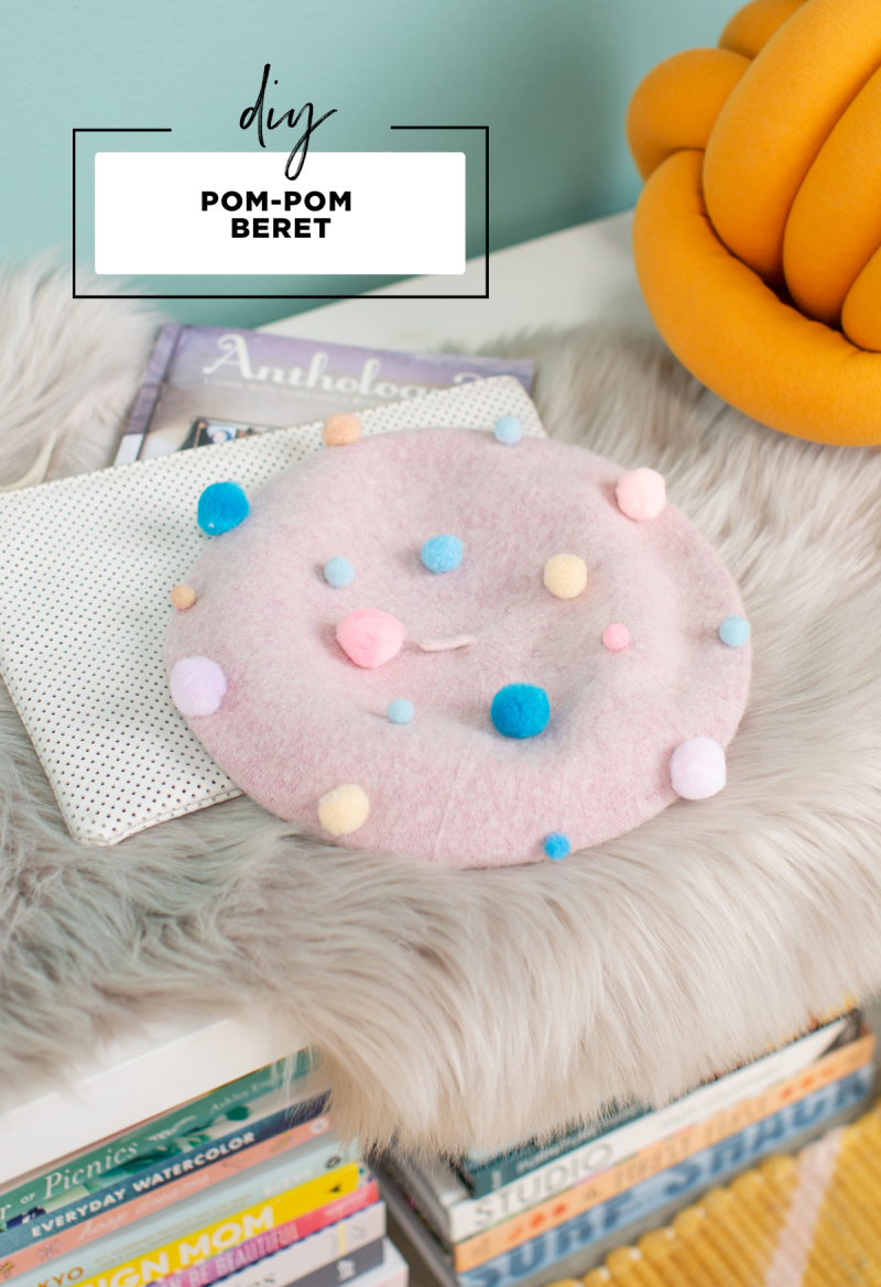 DIY Pom-Pom Beret // How to make a colorful pompom beret... / via Oh Joy!