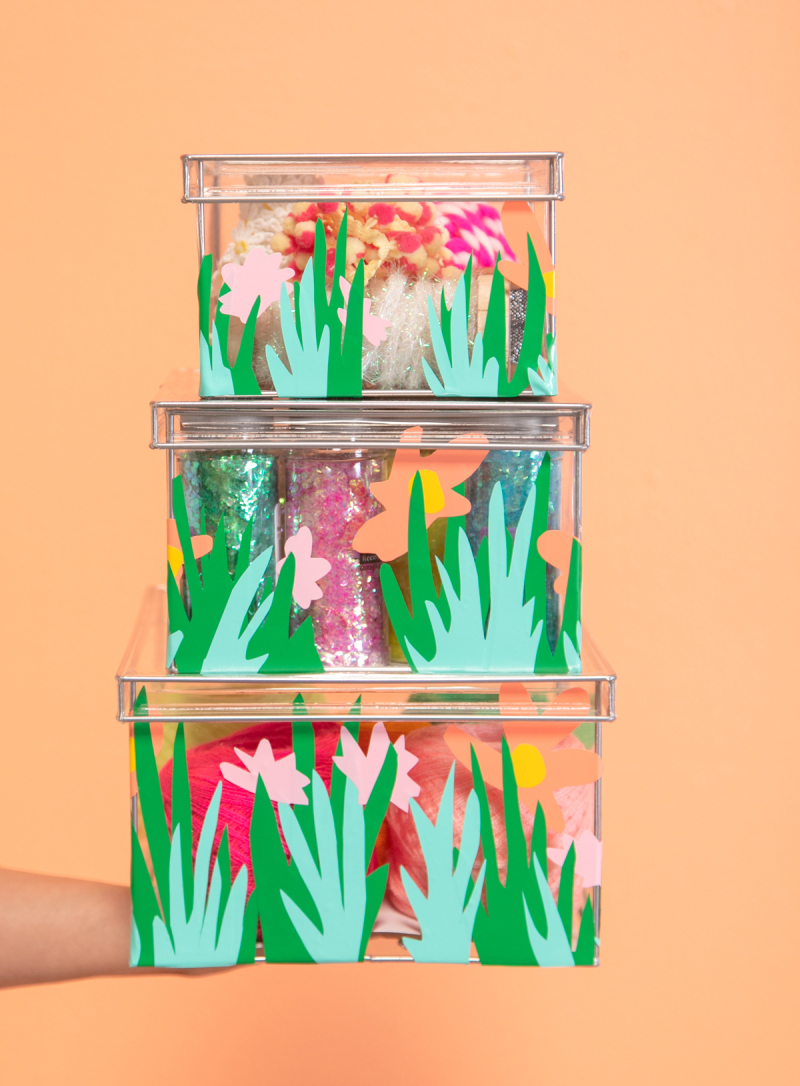 Cute Decals for Clear Storage Boxes / DIY via Oh Joy!